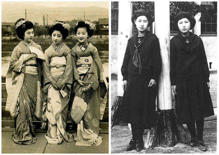 Japonya                                      Soldaki fotoğrafta Maiko kızlar (Geyşa). Sağdaki fotoğrafta 'denizci tarzı' okul üniformasını tanıtan öğrenciler.