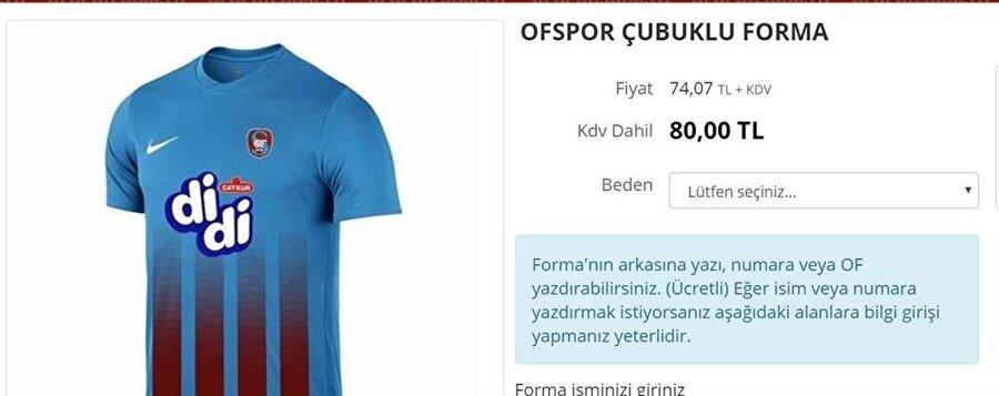 Ofspor 2. Lig Beyaz Grup'ta mücadele eden Ofspor'un forma fiyatı ise 80 lira.