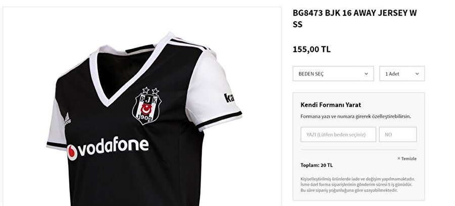 Beşiktaş Süper Lig'in son şampiyonu Beşiktaş'ın da forma fiyatı cep yakıyor. Siyah-beyazlı takımın formasını almak isteyenler 155 lirayı gözden çıkarmak zorunda.
