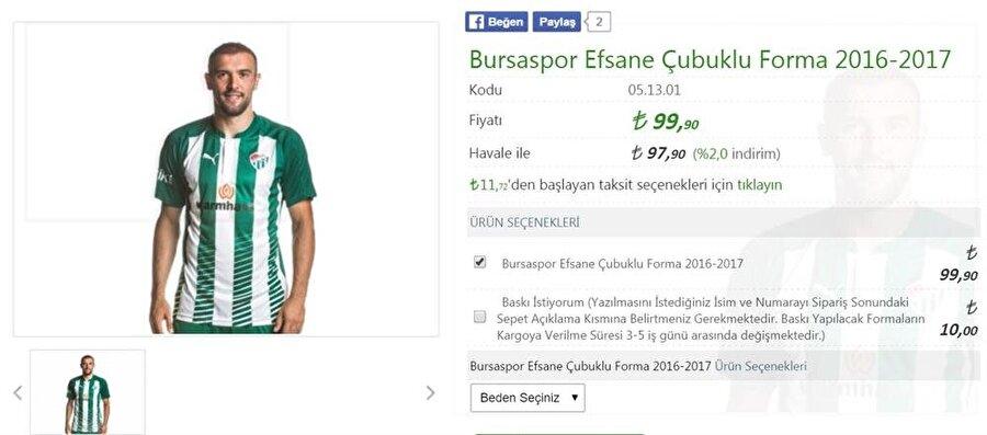 Bursaspor Süper Lig tarihinde şampiyonluk yaşayan beş takımdan biri olan Bursaspor'un forma fiyatı ise 4 büyüklere oranla daha uygun. Timsah'ın formasını 99 liraya alabilirsiniz.