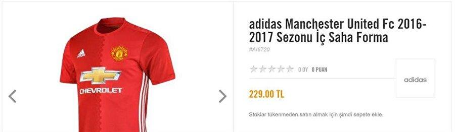 Manchester United İngiliz devi Manchester United'ın da formaları ülkemizde 229 liraya satılıyor.