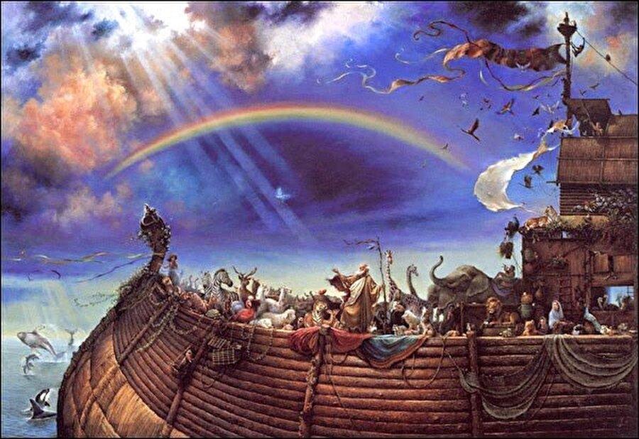 Aşure nereden geliyor?                                                                                                                                                                                                                                                                                                                                                 Hz. Allah, Hz. Nuh'a çok büyük bir gemi yapmasını emreder ve Hz. Nuh, emre itaat ederek büyük bir gemi yapar. Ardından bütün müminleri ve her cinsten birer çift hayvanı da gemisine alır. Hz. Allah sonunda büyük tufanı kopartır; gökten yağan yağmurlar ve yerden fışkıran sular bütün yeryüzünü kaplar. Böylece, yalnızca gemiye binen müminler kurtulur. Gemi aylarca suda kalır ve bu süreçte yanlarına aldıkları yiyecekler tükenmeye başlar. Durum böyle olunca, gemide kalan yiyecekleri bir kazanda toplayıp bir çorba pişirmeye başlarlar. Nuh'un gemisinde çorba olarak yapılan karışım, şimdilerde yediğimiz aşuredir.