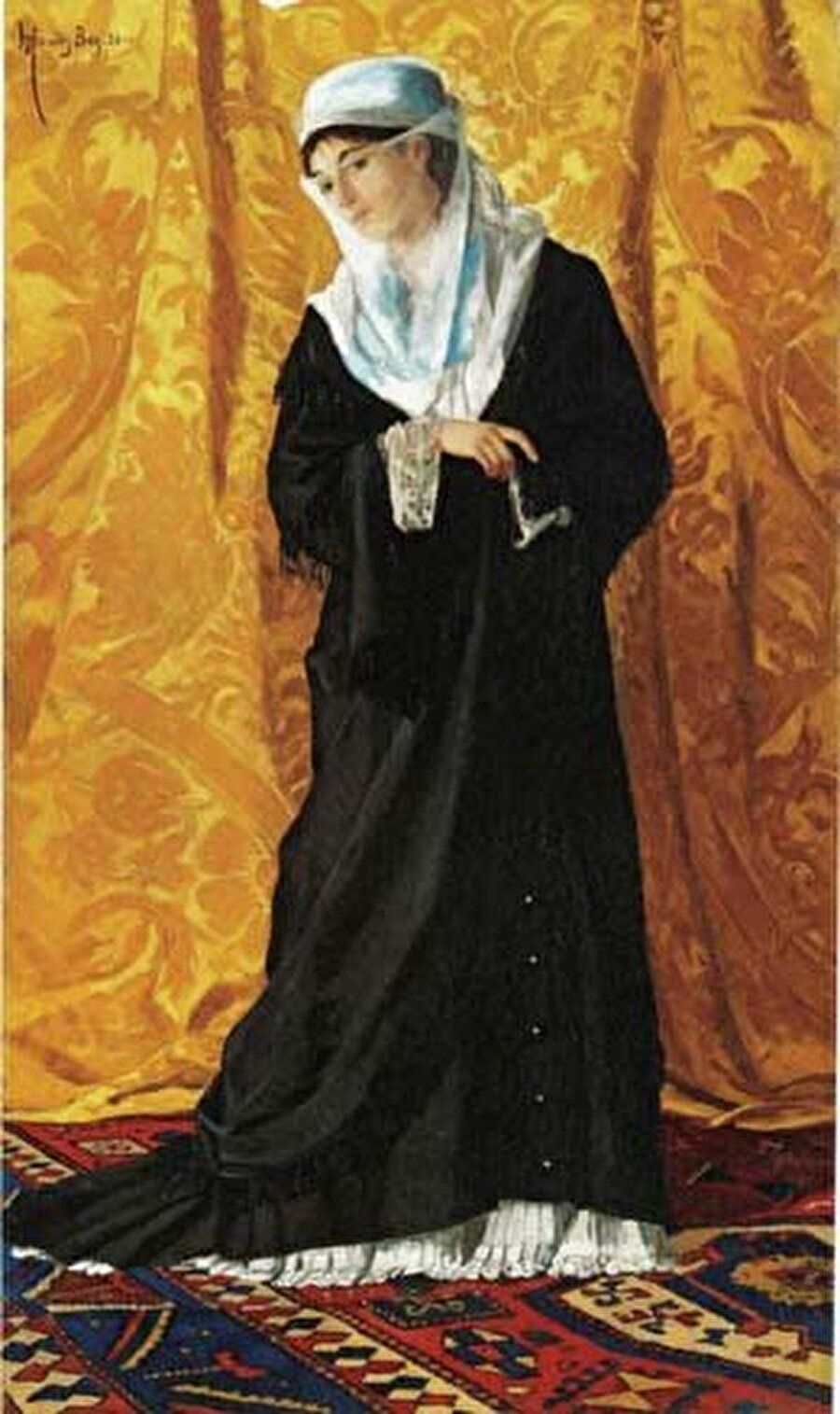 Osman Hamdi Bey - İstanbul Hanımefendisi                                       Son Osmanlı Sadrazamı İbrahim Ethem Paşa'nın oğlu olan Osman Hamdi'nin bu eserindeki kadının kim olduğu bilinmiyor olsa da Osmanlı hanedanından biri olduğu tahmin ediliyor. Tam boy birinin resmedilmesi ve Batı'dan ziyade Doğu'yu yani kendi toplumundan birini resmetmesi önem taşıyor.