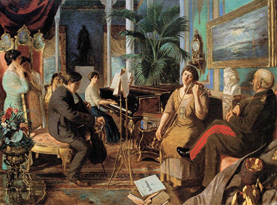 """Abdülmecid Efendi - Haremde Beethoven                                      """"Son halife"""" Abdülmecit Osmanlı hanedanının tek ressam üyesidir. Bu resim Adbülmecit Efendi'nin 1915 yağlı boyasıdır."""