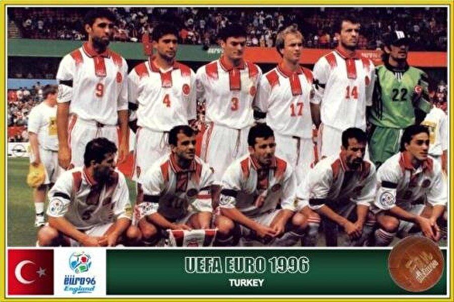 EURO 96                                      1996 yılında İngiltere'nin ev sahipliği yaptığı Avrupa Futbol Şampiyonası'nda Türkiye hiç gol atamadı. Grubunda hiç gol atamayan Ay-yıldızlılar, sıfır puanla turnuvaya veda etti.