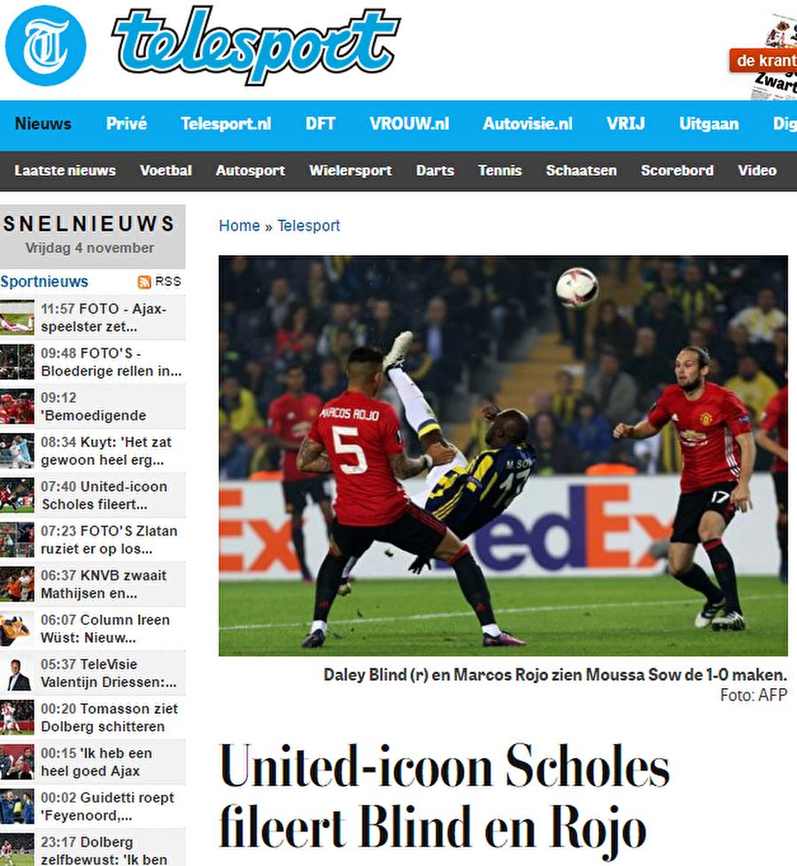 """De Telegraaf                                      Hollanda basınının bir diğer önemli gazetelerinden olan De Telegraaf da Fenerbahçe'nin Hollandalı yıldızı Lens'i manşetine taşıyarak """"Lens, United karşısında parladı"""" manşetini attı. Hollandalı yıldız ve Moussa Sow'dan övgü dolu sözler ile bahseden gazete """" Fenerbahçe'nin her 2 golü de fantastik vuruşlar ile geldi. De Gea'nin yapacağı bir şey yoktu"""" diye yazdı."""