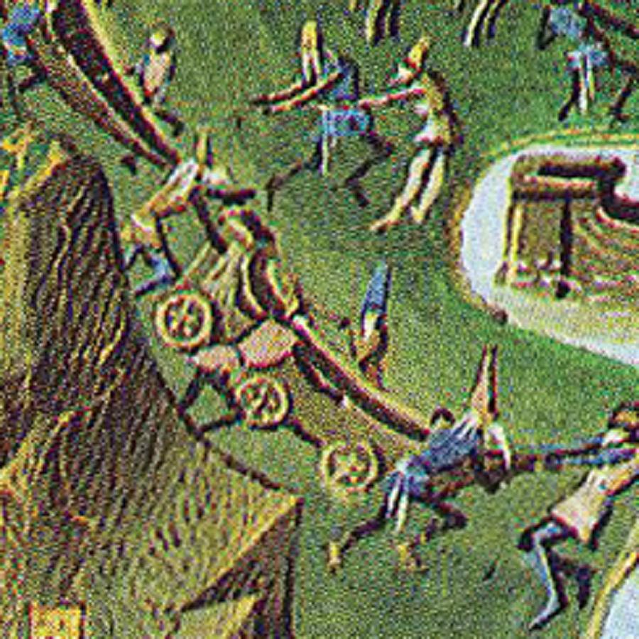 Gemilerin karadan yürütülmesi                                                                           Gemilerin karadan çekilerek Haliç'e indirilmesi Fatih'in büyük projesi olsa da, benzer bir girişim daha önce Aydınoğlu Gazi Umur Bey tarafından uygulanmıştı. Ancak Fatih'in projesinin farkı, gemilerin dik bir yamaca tırmandırılıp sonra yokuş aşağı indirilmesidir. Halatlarla bağlanan gemilerin Kasımpaşa limanına indirilişini tablodan açıkça görmek mümkündür.