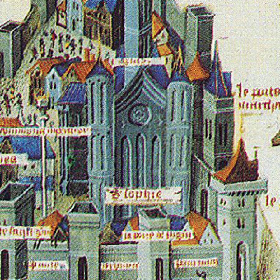 Ayasofya                                                                           Mielot, şehrin içerisindeki en önemli bina olarak resmettiği Ayasofya'yı, Fransız Gotik Katedrallerine benzetmiş. Açılışı 15 Şubat 360 yılına denk gelen Ayasofya, ilkin I. Konstantin tarafından yaptırılmıştı. O zamana kadar hiçbir mimarın cesaret edemediği boyutta bir bina olması ve iskeletin 4 büyük kemere oturtulması ile Geç Roma dönemi mimarisinden farklılık göstermiştir. Doğu Roma tarihindeki tek tanrılı inanca geçişe adanan kilise, putperest mabetlerin yerine inşa edilmiştir. Ayasofya, İstanbul'un fethinin hemen arkasından fetih yoluyla alınan yerlerde uygulanan usûl gereği camiye çevrildi.