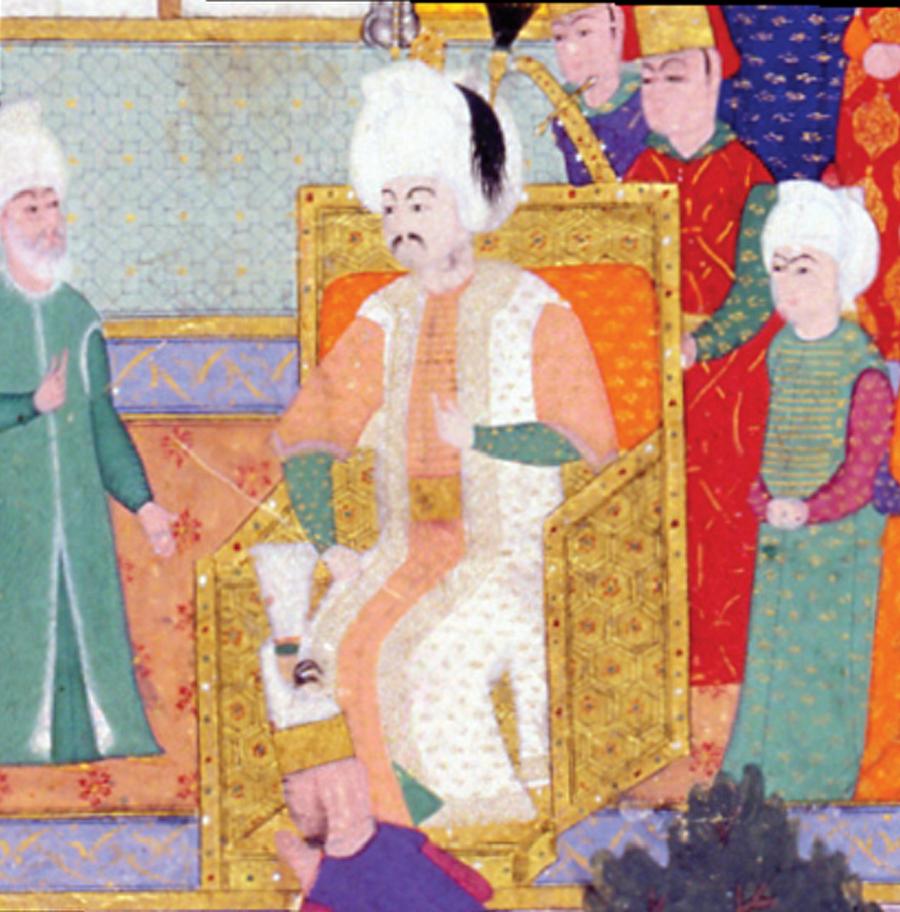 Matem alameti mi? Sonraları koyduğu ve yazdırdığı kanunnamelerle 'Kanuni' sıfatını alan Sultan Süleyman, tahta çıktığında 26 yaşındaydı. Yeşil mintan, şeftali pembesi iç kaftan ve içi kürklü seraser hilât (kaftan) giydiği görünen Kanuni'nin sarığında siyah püskül biçiminde bir sorguç vardır. Süleyman'ın törene yas kıyafetiyle çıktığı bilinse de, buradaki giysisinde matem işareti olmadığına göre, kavuğundaki siyah püskülün matem alameti olduğu söylenebilir mi?