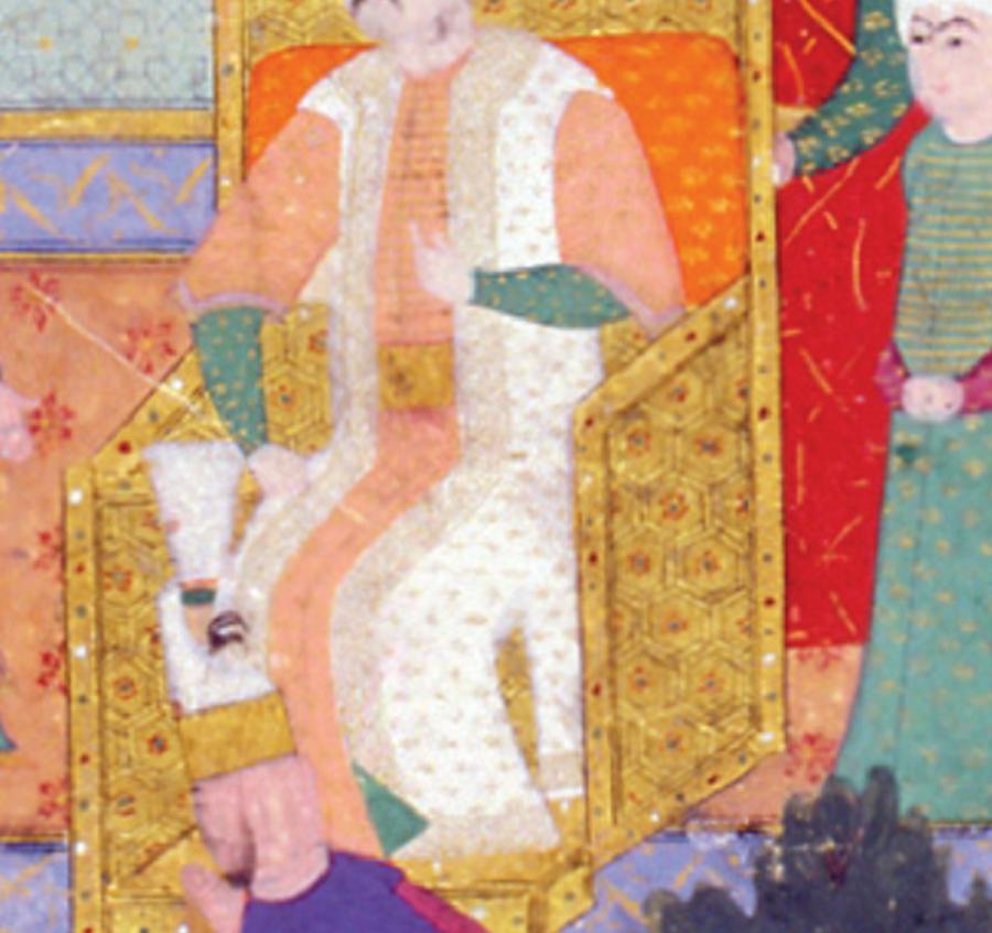 Altın taht Altın işlemeli kıymetli bir halı üzerine kurulmuş altın taht, mücevher bezemeleriyle Padişah için Babüssaade önüne yerleştirilmişti.