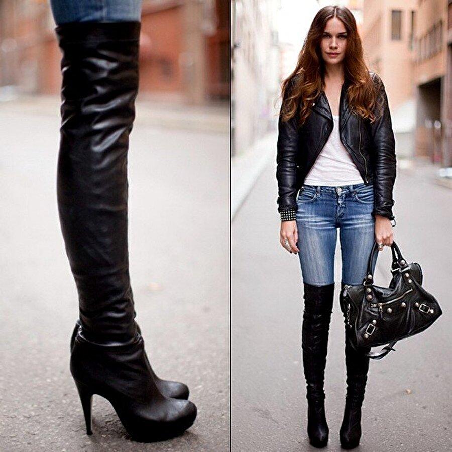 Çizme de tercihiniz uzun modellerden yana olsun. Kaynak: ( Milliyet Cadde )