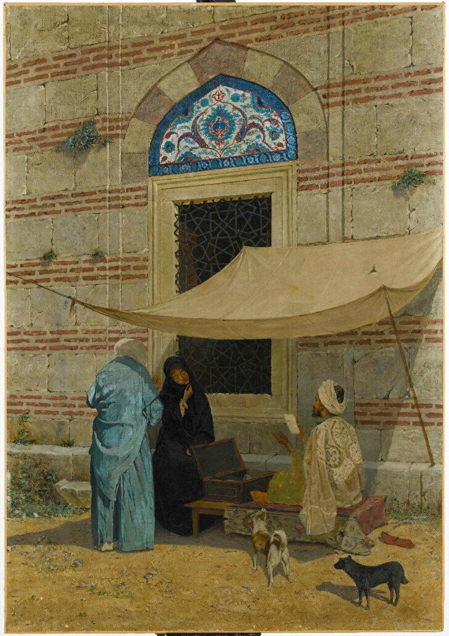Arzuhalci Osman Hamdi Bey'in yağlı boya eseridir. Eserde resmedilmiş biri mavi, diğeri siyah feraceli kadınlar, diğer tüm renkli sahnelerin arasında en halk tipi olanıdır. Osman Hamdi çeşitli ferace tiplerini sınıf farklılıklarını belirtmek için kullanmıştır.
