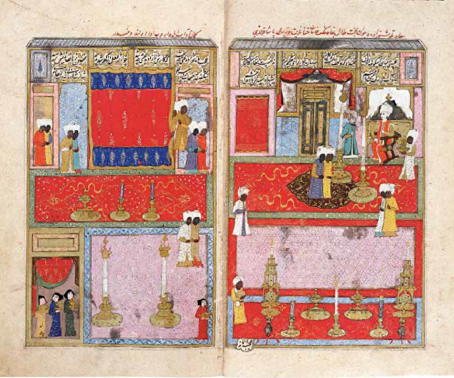 """Ağalar siyasî arenaya çıkıyor                                      Dârüssaade Ağalarının Osmanlı minyatürlerindeki görünürlükleri de böyle başlar. 16. yüzyıl sonundan itibaren hem kitaplardaki suretleriyle, hem de resimli kitapların patronları olarak sıklıkla karşımıza çıkarlar (Zeren Tanındı, """"Topkapı Sarayı'nın Ağaları ve Kitaplar"""", U.Ü. Sosyal Bilimler Dergisi, 3, 2002, s.41-56). Bu dönemde resimlenmiş ve Sultan'ın, dolayısıyla saray yaşantısının konu alındığı kitaplarda ortamın doğal birer parçası oldukları görülür.   III. Murad'ın saltanat yıllarının anlatıldığı Şehinşehnâme'nin 1592 tarihli 2. cildinde yer alan ve Vezir Mehmed Paşa'nın Şehzade Mehmed'e sünnet hediyelerini sunduğu minyatür buna iyi bir örnektir. Tahtında kurulmuş Şehzadenin etrafını kuşatan Kara Ağalar, adeta ailesi gibi görünür. P o r t r e s i y l e tanıdığımız ilk Dârüssaade Ağası, Habeşî Mehmed Ağa'dır. 16. yüzyılın son yarısında, Kanuni ve II. Selim devirlerinde Sultan'ın yanı başında betimlenen Sokollu Mehmed Paşa nasıl belirgin portre özellikleriyle tanınıyorsa, III. Murad devrinde de Habeşî Mehmed Ağa Sultan'dan sonra en dikkat çeken figürdür.   Bu resimlerden biri, Seyyid Lokman tarafından Türkçe yazılan ve Osmanlı sülalesini Hz. Adem'den başlayan bir İslam tarihi çerçevesine yerleştiren Zübdetü't-Tevârîh'in III. Murad için hazırlanmış nüshasında yer alır.   Eserin Osmanlı tarihine ayrılan kısmında III. Murad'a kadar hüküm sürmüş padişahların portrelerini buluruz. Ancak her bir Sultan tek başına belirli bir pozu tekrar ederek resimlenirken, III. Murad elinde kitapla ve arkasında 2 Hasodalı Ağa'yla birlikte gösterilmiştir.   III. Murad'ın kimi ikonografik ayrıntılarla diğer Sultanlardan farklı kılınması anlaşılabilir bir durumdur. Ancak Habeşî Mehmed Ağa'nın, Sultan'ın hemen karşısında betimlenmesi, elde ettiği siyasî kudretin bir ifadesi olmalıdır.   Önemli bir husus da, Zübdetü't- Tevârîh'in diğer resimli nüshasının Habeşî Mehmed Ağa için hazırlanmış olmasıdır. Sultan için hazırlanan """