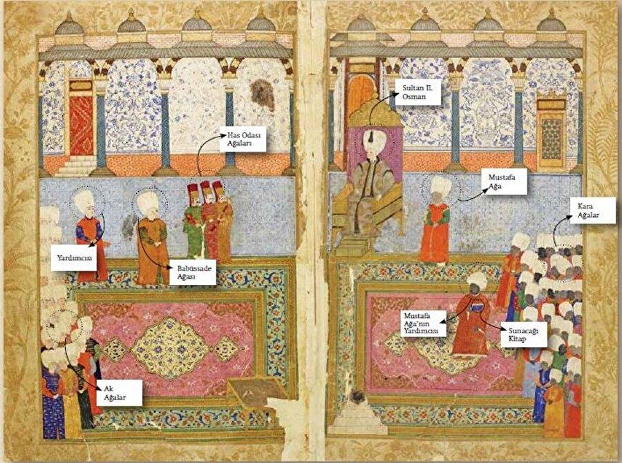 Minyatürlerin yeni yüzleri                                       Bu dönemden itibaren Dârüssaade Ağaları minyatürlerin kahramanları olmakla kalmaz, Sultan için yazılıp resimlenen kitapların hazırlanmasındaki katkılarıyla kültür politikalarına da yön verirler. III. Murad için hazırlanan pek çok resimli kitabın arkasındaki kişi olan Habeşî Mehmed Ağa'nın rolü, eserlerin resim programına da yansır. Mesela Osmanlı-Safevî savaşının serdarlarından Ferhad Paşa'nın fetihlerinin işlendiği 1590 tarihli Gencîne-i Feth-i Gence'nin önsözünde Habeşî Mehmed Ağa'nın katkıları anlatılırken, eşlik eden minyatürde kitabın onun eliyle III. Murad'a takdimi betimlenmiştir.   Süreç, 17. yüzyıl başı Osmanlı siyasetine yön vermiş saraylıların başında gelen el-Hac Mustafa Ağa ile doruğa ulaşır.   İktidarına I. Ahmed devrinde kavuşan Mustafa Ağa, II. Osman'ın cülusundaki rolüyle Sultan'ın en yakınındaki kişi olur. Ne yazık ki, rakipsiz iktidarı uzun sürmez. Nedendir bilinmez, Padişah'ın cülusundan yaklaşık 1 yıl sonra sürgün edilir. Ancak bu sürede Sultan için hazırlattığı resimli kitap ve eserde karşımıza çıkış biçimi, Habeşî Mehmed Ağa ile başlayan dinamik sürecin güçlenerek devam ettiğini gösterir.   2 ciltten oluşan eser, Mustafa Ağa aracılığıyla Meddah Medhî tarafından II. Osman için mensur olarak yeniden yazılan Firdevsî'nin Şehnâme'sinin Türkçe çevirisidir. Kitap, Sultan ve Mustafa Ağa için birer takım olmak üzere devrin meşhur hattatı Cevrî tarafından istinsah edilip nakkaşhanede tasvirlerle süslenir.   Sultan için hazırlanan nüshanın ilk cildinde kitabın Padişah'a sunuluşunu gösteren bir minyatür yer alır. Osmanlı resim sanatının özgün örneklerinden biri olan bu çalışma ilginç ikonografisiyle hem saray siyasetinde Dârüssaade Ağaları lehine değişen güç dengesini, hem de Mustafa Ağa'nın ulaştığı kudretin derecesini gösterir.   Tasvirde Padişah, Topkapı Sarayı'nda, muhtemelen mermerli sofada göz kamaştırıcı halıların serili olduğu mekâna kurulmuş olan tahtında oturur. İki yanında Kara v