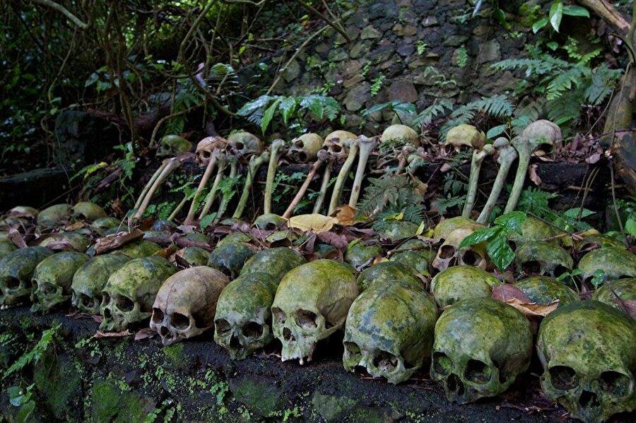 İnsanlara ait kafatasları ve kemikler orman içerisindeki bir alana götürülüyor. Ölen kişinin kemikleri ormandaki diğer kafataslarının yanına  yerleştiriliyor.