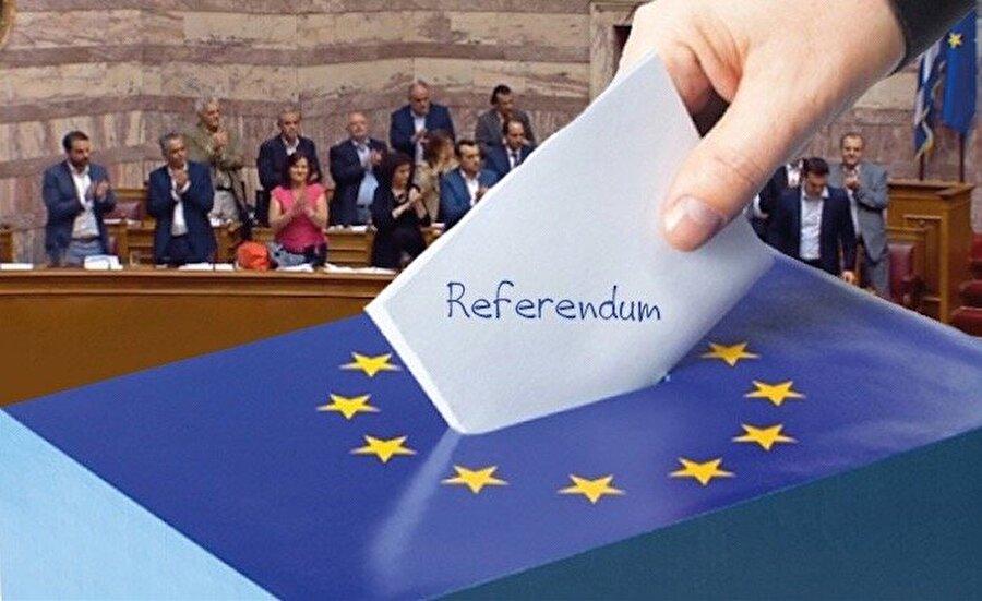 Yunanistan 2015 (Kreditörlerin nakit akışının yeniden sağlanması karşılığında öne sürdüğü koşullar)                                                                                                                                                     Yunan İçişleri Bakanlığı'nın açıkladığı sonuçlara göre halkın kararı, yüzde 61,35 hayır, yüzde 38,65 evet olarak yansıdı.  Referanduma göre Yunanlar, kreditörlerin nakit akışının yeniden sağlanması karşılığında öne sürdüğü koşulları hükümetin kabul etmemesi yönünde karar vermiş oldu.          Yunanistan, geleceği için çok kritik bir referandumu geride bırakırken, kullanılan oyların yüzde 90'ı sayıldı. Sonuç, referandum öncesi her iki görüşte olanların birbirine yakın oranda oy alacakları tezini doğru çıkarmazken, kullanılan oyun yüzde 5,8'i de geçersiz sayıldı.