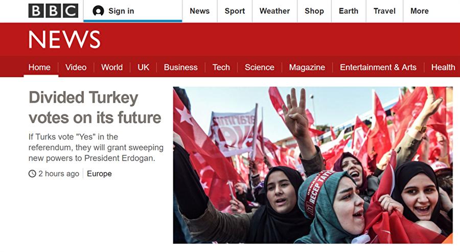 İngiltere  - BBC: Bölünmüş Türkiye geleceğini oyluyor                                                                           İngiliz medya kuruluşu BBC Türkiye'yi referandum öncesi bölünmüş göstererek referandumda evet gelmesi durumunda Cumhurbaşkanı Erdoğan'ın sınırsız gücü olacağını aktardı.