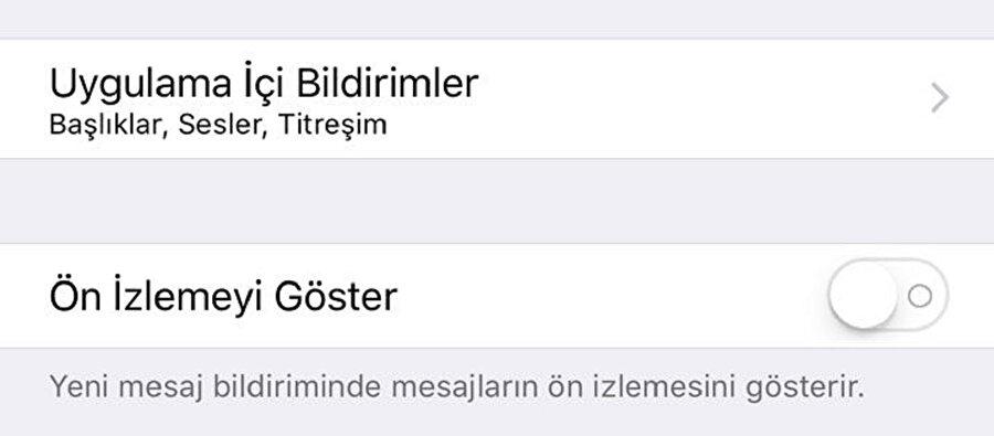 iPhone'da WhatsApp mesajlarının bildirim ekranında gözükmesi nasıl engellenir?                                                                                                                                                                                                                                iPhone'da WhatsApp mesajlarının bildirim ekranında gözükmesini engellemek için WhatsApp > Ayarlar > Bildirimler > Ön İzlemeyi Göster seçeneğini kapatmak yeterli.