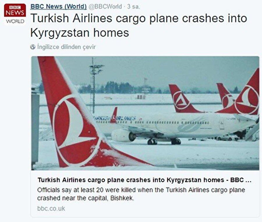 """BBC, Kırgızistan'da düşen bir kargo uçağının THY'ye ait olduğunu söyledi. Tüm uyarılara rağmen haber tam 7 saat sosyal medyada durdu.                                                                           6 ay önce Kırgızistan'ın başkenti Bişkek'e ACT Havayollarına ait bir kargo uçağı düştü. BBC bu haberi Twitter'da takipçilerine """"Türk Hava Yolları uçağı Kırgızistan'da evlerin üzerine düştü"""" şeklinde duyurdu. Bu skandal sonrasında ne THY'nin açıklaması ne de duyarlı vatandaşların tepkisi haberin 7 saat Twitter'da kalmasını engelleyemedi. Konu hakkında BBC herhangi bir açıklamada bulunmadı."""