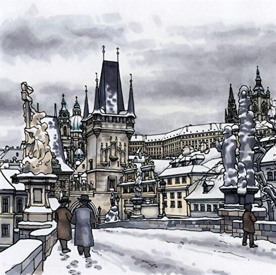 Prag-Çekya                                                                           Kış temasıyla dikkat çeken Prag, illüstrasyon üzerinden de anlaşılacağı üzere tarihi binalarıyla dikkat çekiyor.
