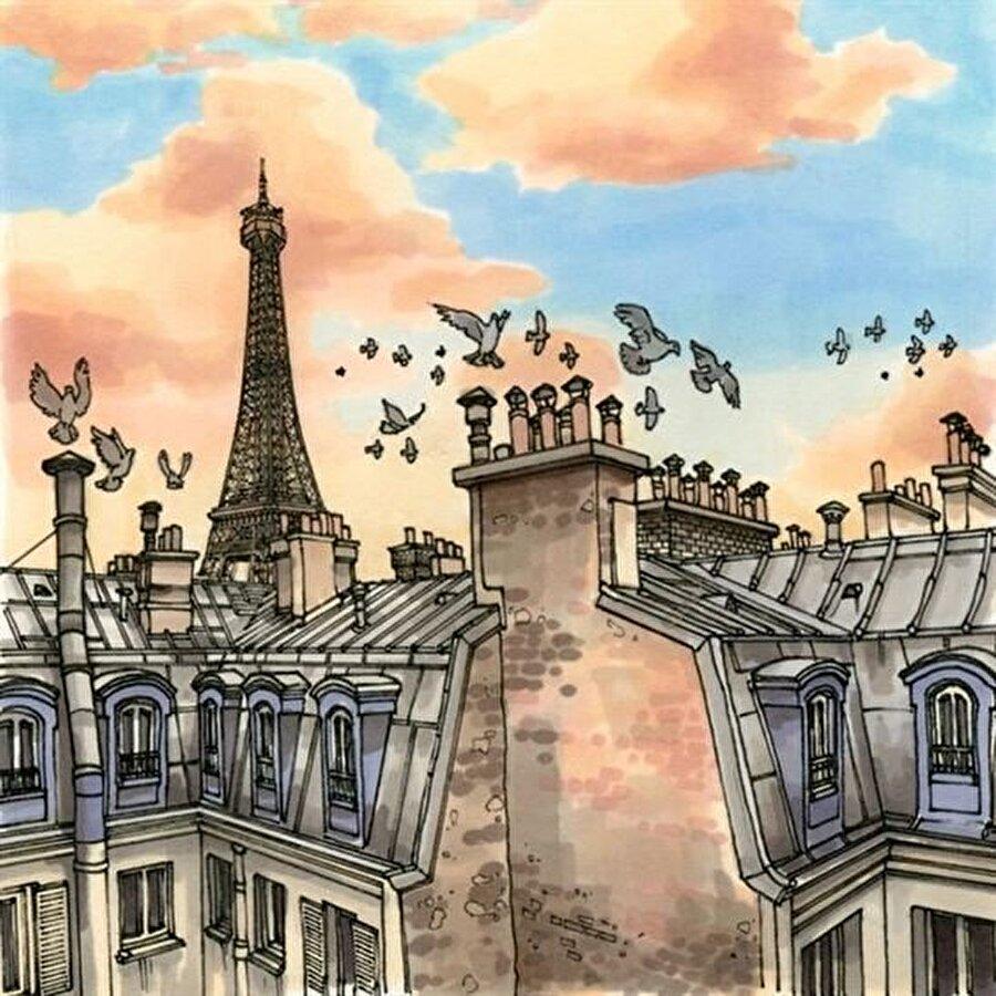 Paris-Fransa                                                                           Son günlerde yaşanan protesto olaylarıyla gündemde olan Paris, sanatçının çalıştığı şehirlerden. Eyfel Kulesi ve kuşlar, ilk göze çarpan metaforlardan.