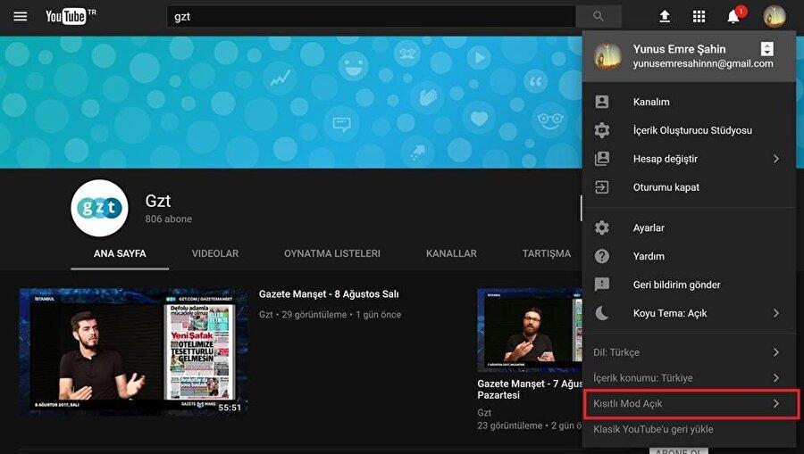 """YouTube Kısıtlı Mod nasıl aktif edilir?                                                                                                                                                     YouTube'ta Kısıtlı Mod'u aktif etmek için öncelikle sağ üstte bulunan profil simgesine tıklayarak alt menünün açılmasını sağlamak gerekiyor. Ardından alt kısımda yer alan """"Kısıtlı Mod Kapalı"""" seçeneğinin aktif hale getirmek bu işlemi gerçekleştirmek için kâfi. Bu adım tamamlandığında YouTube yenilenerek sakıncalı olabilecek içerikleri tamamen ortadan kaldırıyor. Sırf bu adımı uygulayarak dahi YouTube'ta çocuklar için uygun olmayan içerikleri filtreleyebilmek mümkün."""