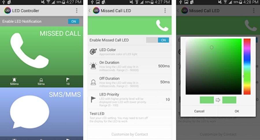 Farklı renkler ayarlamak mümkün mü?                                                                                                                Evet, Samsung cihazlarda ek uygulamalar vasıtasıyla LED'lerin farklı renklerde yanmasını sağlayabilmek mümkün. Bunun için Google Play'de yer alan ve ücretsiz olarak indirilebilen LED Controller'ı kurmak yeterli. Akabinde renkler kolayca değiştirilebiliyor. Böylece uygulama bazlı farklı renkler de belirlenebilir. Örneğin WhatsApp'tan herhangi bir mesaj geldiğinde bildirim LED'i mor ya da beyaz olarak aydınlanabilir.