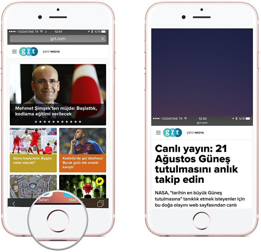 Ardından ana ekran düğmesine iki kez hafifçe dokunulduğunda iPhone'lardaki ekran otomatik olarak aşağıya iniyor; böylece tek elle rahatça bir kullanım sunuluyor. Zira, baş parmakla kolay bir şekilde ekranın ortasına erişim söz konusu oluyor. Görüntü neredeyse tamamen ekranın orta kısmına geldiği için tüm kontroller basit bir şekilde gerçekleştirilebiliyor.