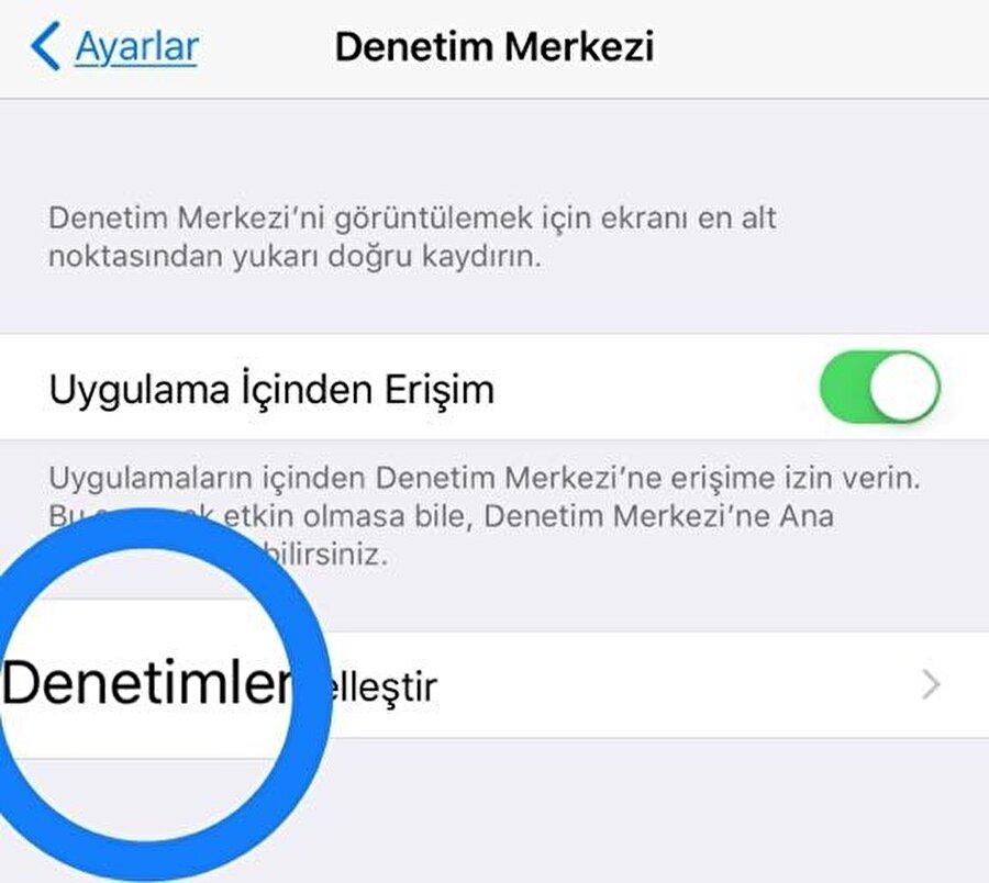 iPhone'larda Denetim Merkezi nasıl özelleştirilir?                                                                                                                iOS 11 yüklü iPhone ve iPad'lerde Denetim Merkezi'ni özelleştirmek gayet kolay. Bunun için Ayarlar > Denetim Merkezi > Denetimleri Özelleştir düğmesine tıklamak yeterli.