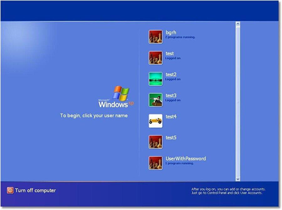 Birden fazla kullanıcı profili oluşturma: Windows XP ile gelen en önemli yeniliklerden biri kuşkusuz birden fazla kişinin sisteme tanımlanabilmesi oldu. Böylece aynı bilgisayarı birden çok kişi kullanabilir hale geldi. Ayrıca bu sistemde kullanıcıların oturumu kapatmasına gerek kalmadan farklı oturumlar arasında geçiş yapmasına da imkan tanındı.