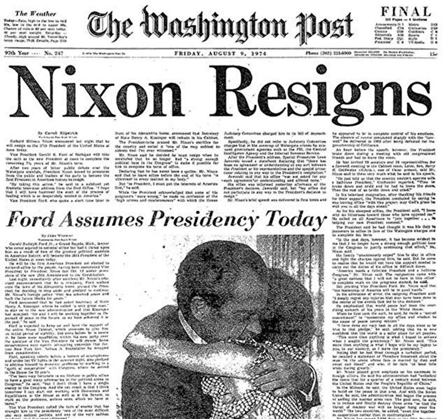 Skandalın üzerine günlerce giden Washington Post, Başkan'ın istifasını böyle duyurdu.