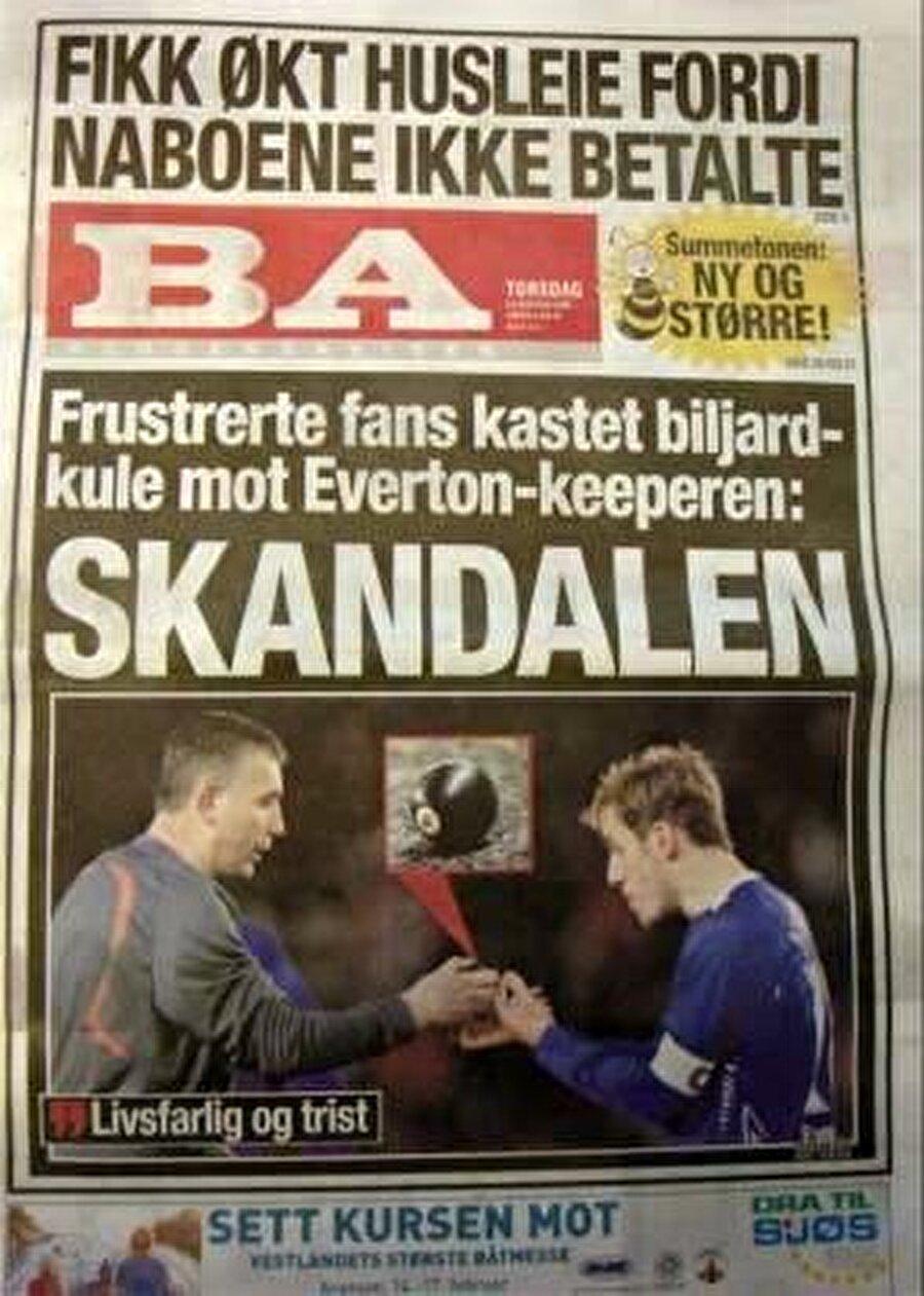Norveç Ligi'nde ise Brann taraftarı sahaya bilardo topu attı: Siyah 8