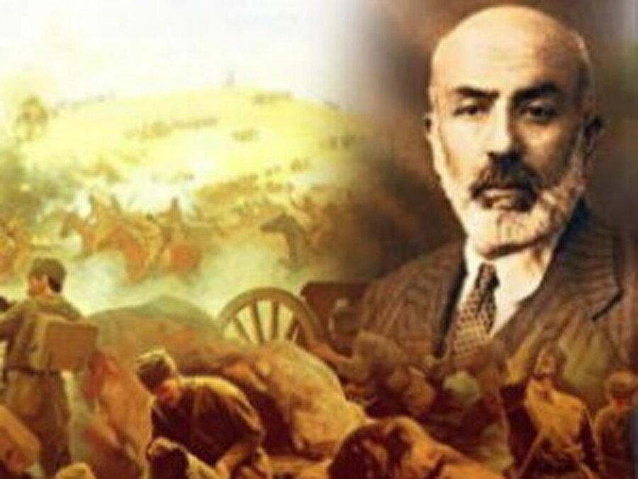 Mehmet Akif Ersoy, marşı orduya ithaf eder ve bayrağa yazar.