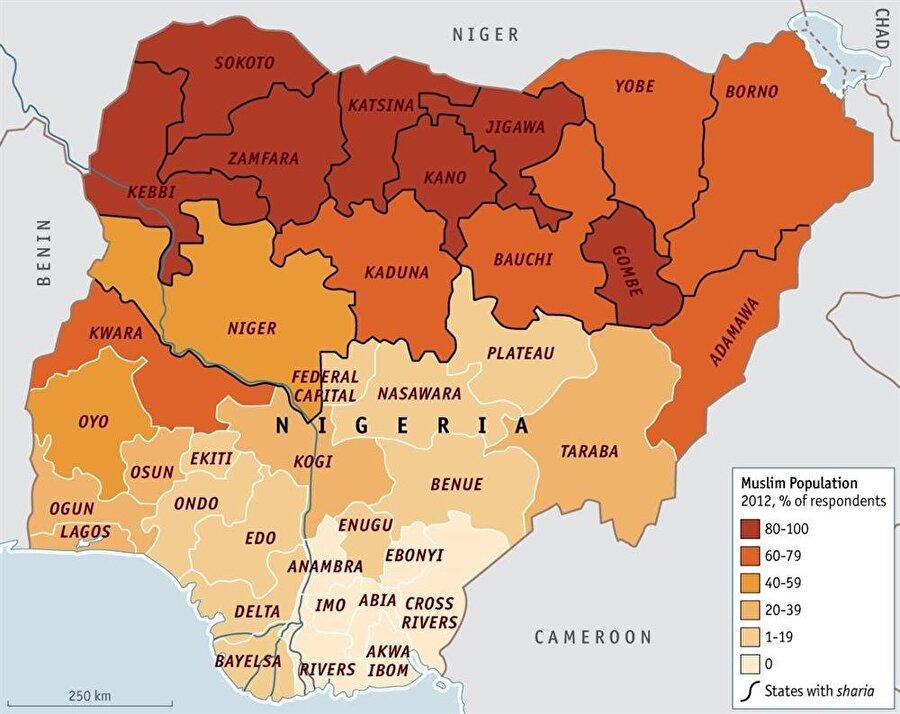 250 etnik kökenden onlarca farklı dine mensup olan toprakların kuzeyinde Müslümanlar, güneyinde ise Hristiyanlar yaşamaktadır.                                       En büyük grupları yüzde 29 ile Hausa ve Fulani, yüzde 21 ile Yoruba, yüzde 18 ile İgbo, yüzde 10 ile İjaw, yüzde 4 ile Kanuri grupları oluşturuyor.