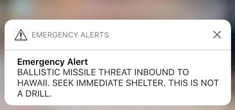 Hawaii Acil Durum Dairesi Sözcüsü Richard Repoza, telefonlara gönderilen uyarının yanlış alarm olduğunu açıklarken olayın soruşturulduğunu söyledi.