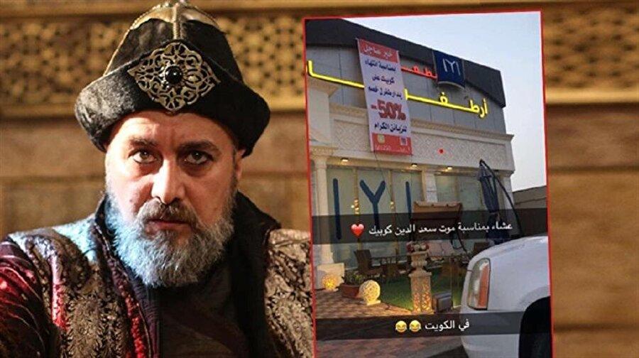 Dünyada birçok ülkede izlenen Diriliş Ertuğrul'a geçtiğimiz hafta veda eden Saadettin Köpek'in ölümü, sosyal medyayı salladı. En ilginç olay ise Katar'da yaşandı. Katar'ın Al Khor şehrinde bulunan Ertuğrul isimli bir restoran, Diriliş Ertuğrul'da Sadettin Köpek'in ölümünün ardından müşterilerine %50 indirim yaptı. Restoranın dışına ayrıca Kayı Boyu bayrağı da asıldı.