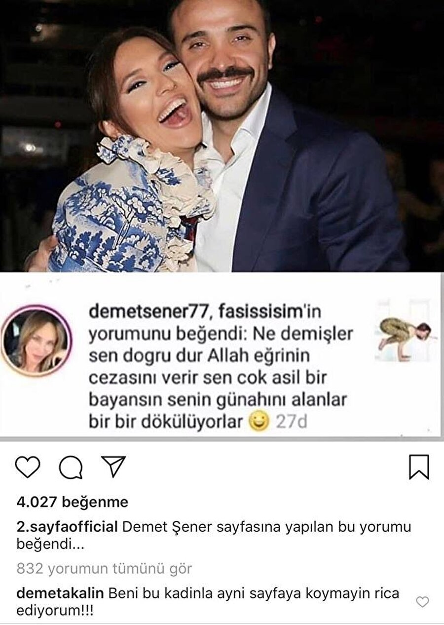 ''Beni bu kadınla aynı sayfaya koymayın'' Ünlü popçu Demet Akalın, Demet Şener'in sosyal medyayı sallayan beğenisi karşılığında, ''Beni bu kadınla aynı sayfaya koymayın, rica ediyorum'' açıklamasında bulundu.