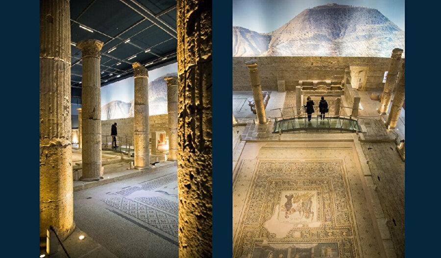 Zeugma Mozaik Müzesi'nde sergilenen göz alıcı eserler arasında Savaş Tanrısı Mars Heykeli ve Dionysos'un Düğünü Mozaiği de bulunmaktadır. Dionysos'un Düğünü Mozaiği'nin eksik olan bölümleri, görüntünün yansıtılmasıyla canlandırılmıştır.