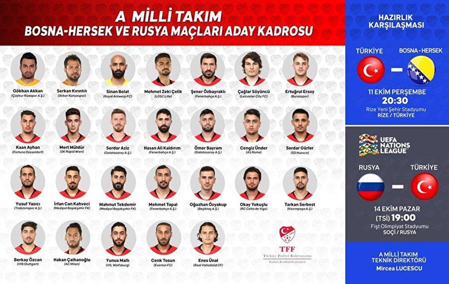 A Milli Takım Teknik Direktörü Mircea Lucescu tarafından belirlenen 26 kişilik kadroda şu futbolcular yer alıyor: