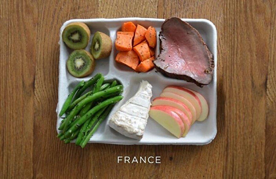 Fransa Türklerin de çoğunlukta yaşadığı bir ülke olan Fransa'da, beslenme için tercih besinler şöyle: Biftek, havuç, yeşil fasulye, peynir ve taze meyve.
