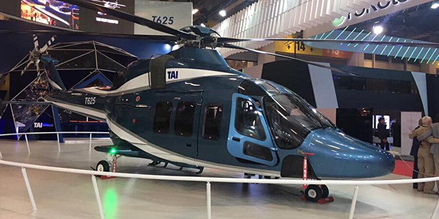 T625 / 5 Ton Sınıfı Genel Maksat Helikopteri - TAI                                                                                                                2013 Eylül ayında sözleşmesi imzalanmış olup ilk uçuşunu 2018 yılı sonu gibi gerçekleştirmesi ve 2021 yılında seri üretime geçmesi hedeflenmektedir. Program kapsamında yapısal ve aviyonik sistemlerin sistemlerin yanı sıra motor, transmisyon, rotor ve iniş takımları da milli imkanlar kullanılarak tasarlanıp üretilecektir. VIP, kargo, hava ambulans, arama kurtarma ve kıyı ötesi taşıma gibi geniş bir çerçevede görev icra etmesi ve sivil helikopter pazarından da sipariş alması beklenmektedir.