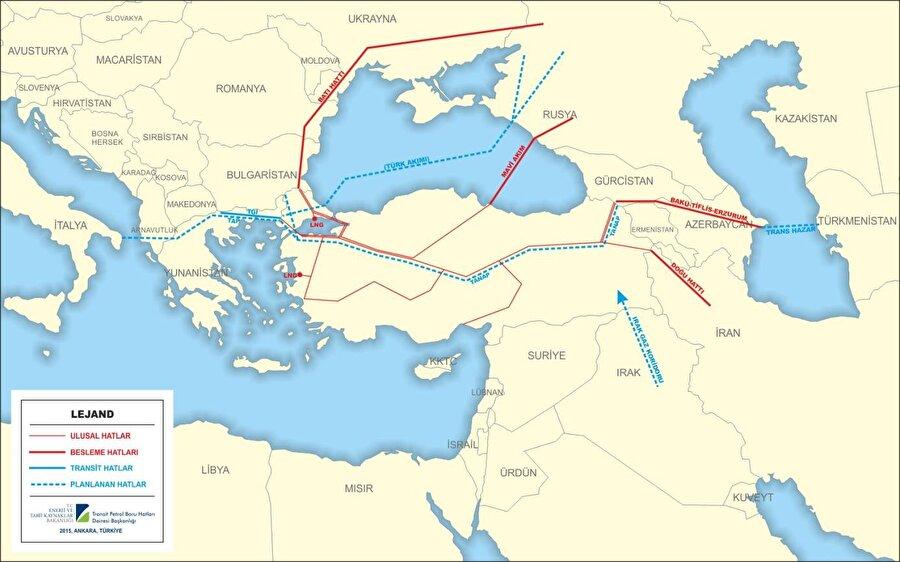 """İran-Türkiye Doğu Anadolu Doğalgaz Ana İletim Hattı Yıllık 10 milyar m3 İran doğal gazının boru hattı ile Türkiye'ye arzı amacıyla 8 Ağustos 1996 tarihinde İran ile Türkiye arasında Tahran'da Doğal Gaz Alım-Satım Anlaşması imzalanmıştır. Bu kapsamda inşa edilen, yaklaşık 1491 km uzunluğunda, çapı 48"""" ve 16"""" arasında değişen Doğu Anadolu Doğal Gaz Ana İletim Hattı, Doğubayazıt'tan başlayıp, Erzurum, Sivas ve Kayseri üzerinden Ankara'ya uzanmakta, bir branşman da Kayseri, Konya üzerinden Seydişehir'e ulaşmaktadır.   Haziran 2001 sonu itibarıyla tüm boru hattı sistemi gaz alabilir duruma gelmiş, İran Bazargan'daki Ölçüm İstasyonu'nun tamamlanmasıyla 10 Aralık 2001 tarihinde İran'dan gaz alımı başlamıştır."""