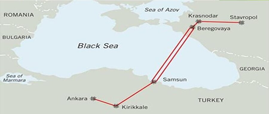 Rusya-Türkiye Mavi Akım Doğalgaz Boru Hattı 15 Aralık 1997 tarihinde BOTAŞ ve Gazexport arasında imzalanan 25 yıllık Doğal Gaz Alım- Satım Anlaşması kapsamında, doğal gaz Rusya Federasyonu'ndan Karadeniz geçişli bir hat ile Türkiye'ye ulaşmaktadır. Anlaşmaya göre, yıllık 16 milyar m3 doğal gaz Türkiye'ye arz edilmektedir.   Mavi Akım Projesi'nin Türkiye topraklarındaki kısmı Samsun'dan başlayarak Amasya, Çorum, Kırıkkale üzerinden Ankara'ya ulaşmakta ve Ana Hat ile irtibatlandırılmaktadır. Hat, 20 Şubat 2003 tarihinde işletmeye alınmış, 17 Kasım 2005 tarihinde resmi açılış töreni yapılmıştır.