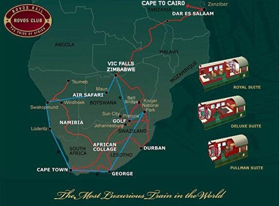 10) Rovos Rail'in Yolculuk Rotası                                      Rovos Yolculuğu Cape Town, Victoria Şelaleleri, Durban, Dar es Salaam ve Namibya güzergahlarından geçiyor. Yolculuklar ayda birkaç kez yapılıyor ve her iki yönde de rezerve edilebiliyor. Pretoria, Rovos Rail'in ana merkezidir.