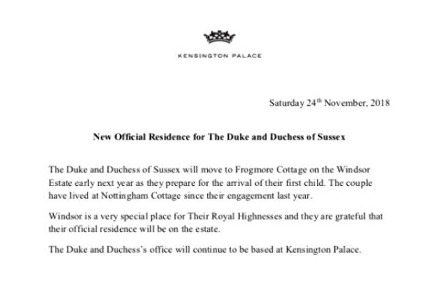Saray da kararı tasdik etti Kensington Sarayı, yayınladığı bir açıklamayla bu taşınma kararının doğru olduğunu tasdik etti.