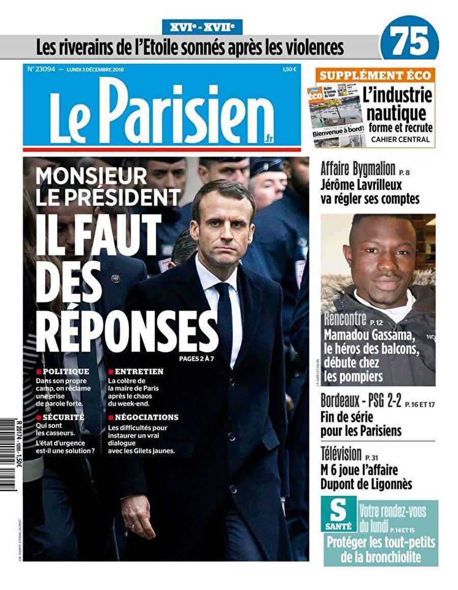 """Le Parisien                                      """"Sayın Cumhurbaşkanı halk cevaplar bekliyor"""""""