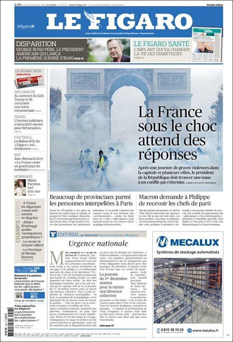 """Le Figaro                                      """"Şok içindeki Fransa, yanıtları bekliyor"""""""