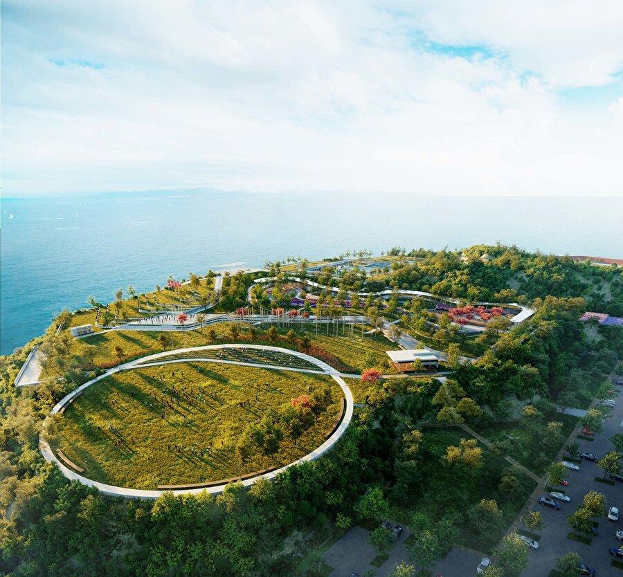 """Zonguldak Millet Bahçesi Yaklaşık 150 dönüm büyüklüğündeki proje alanı Zonguldak halkının """"kent parkı"""" ihtiyacını karşılamak üzere kurgulanmıştır."""