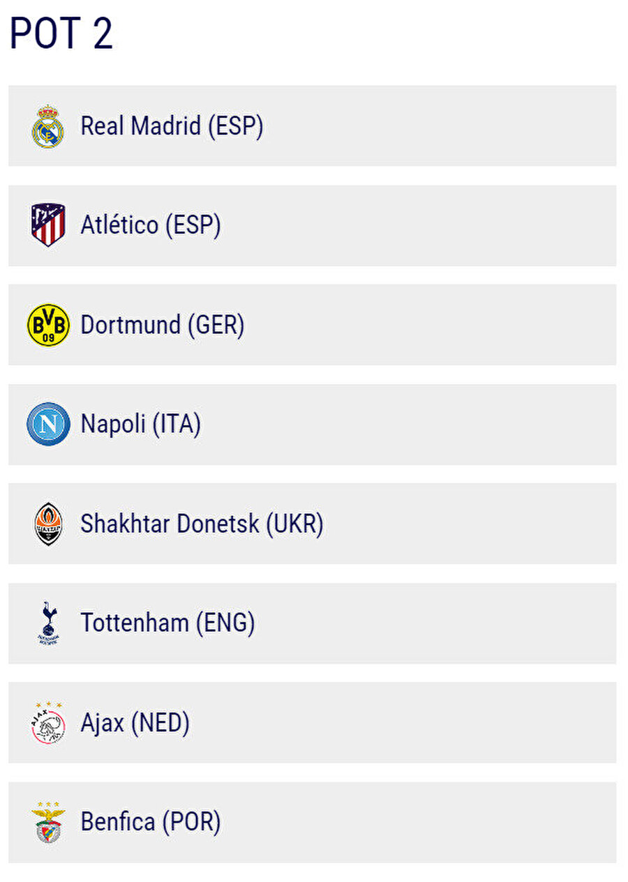2. torbada Real Madrid, Atletico Madrid, Dortmund, Napoli, Shakthar, Tottenham, Ajax, Benfica yer alacak.