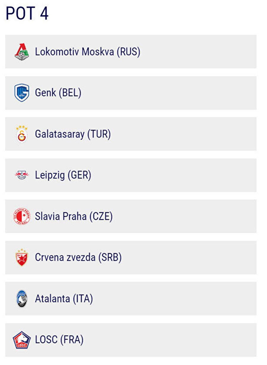 4. torbada Genk, TEMSİLCİMİZ GALATASARAY, Kızılyıldız, RB Leipzig, Lokomotiv Moskova, Atalanta, Lille, Slavia Prag olacak.